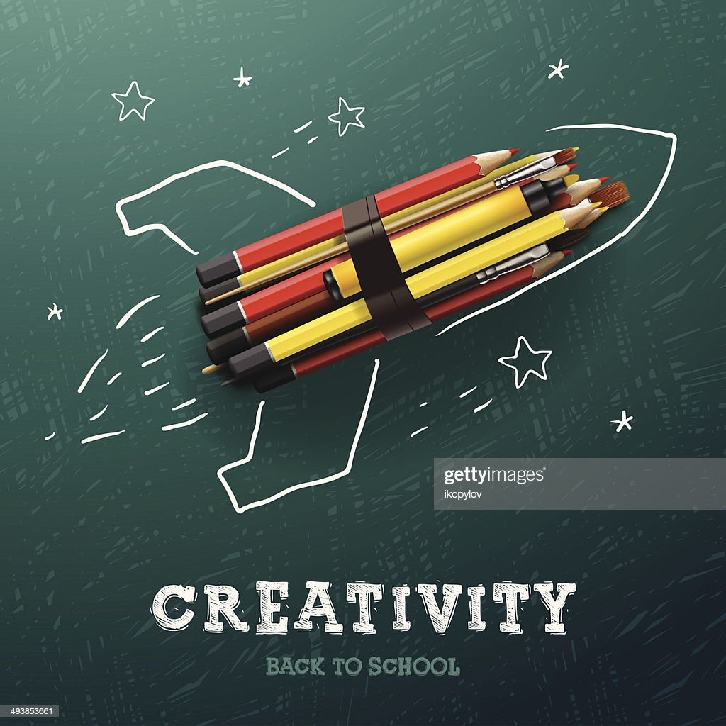 Creativity learning. Rocket ship launch with pencils