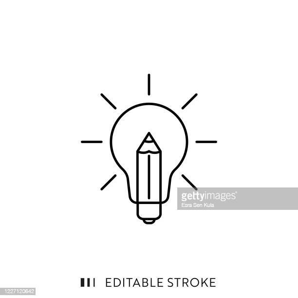 illustrations, cliparts, dessins animés et icônes de icône de ligne de créativité avec course modifiable et pixel parfait. - idée