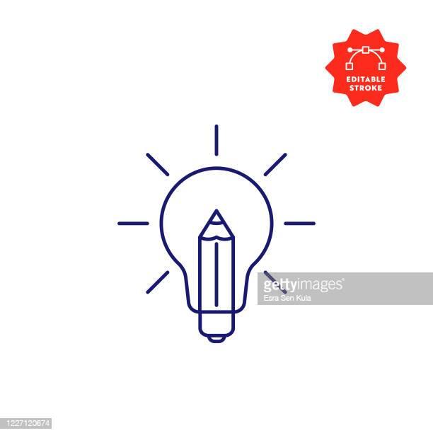 illustrazioni stock, clip art, cartoni animati e icone di tendenza di icona della linea creatività con tratto modificabile e pixel perfect. - creatività