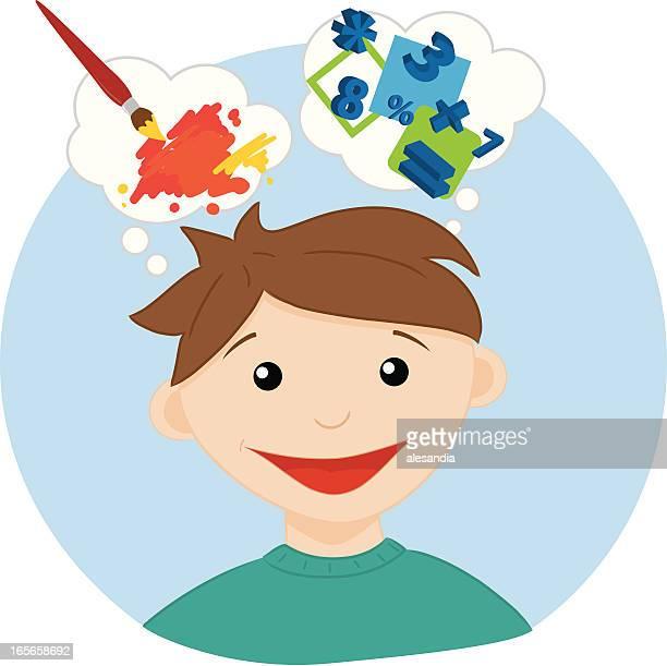 creativity - logic boy - cerebral hemisphere stock illustrations, clip art, cartoons, & icons