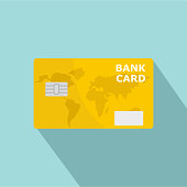 Credit bank card icon, flat style