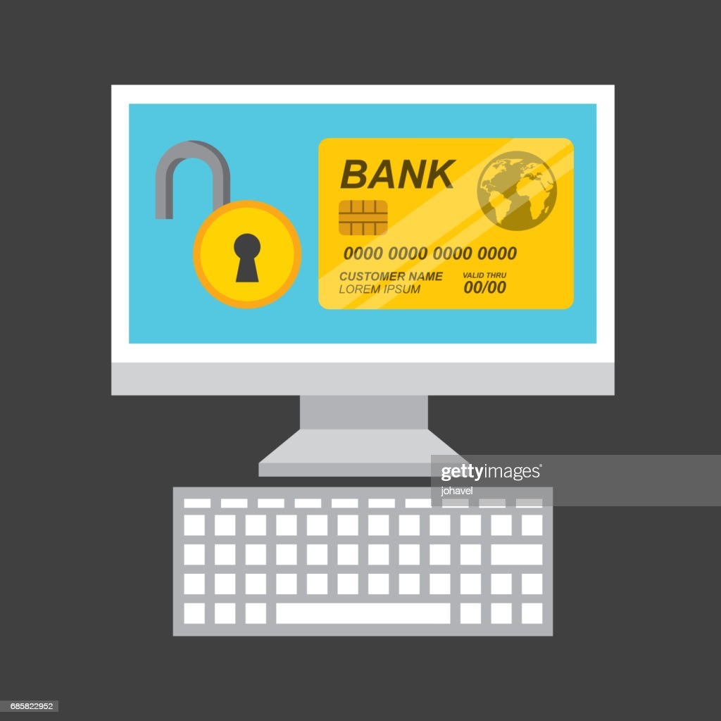 Credit card and computer icon. Bank and Money design. Vector gra