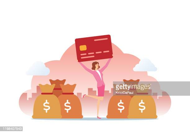 credit card and money bag - retail employee stock illustrations