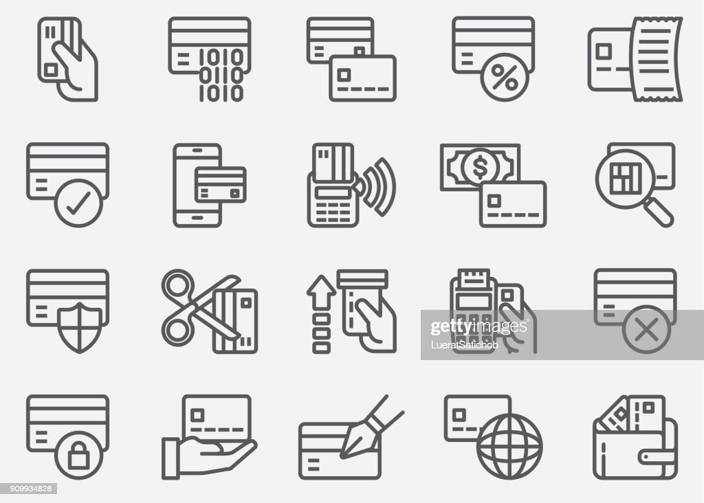 Credit Card ATM Line Icons