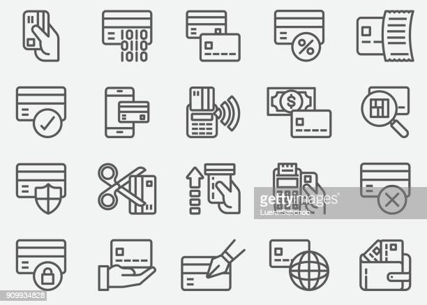 credit card atm line icons - greeting card stock illustrations, clip art, cartoons, & icons