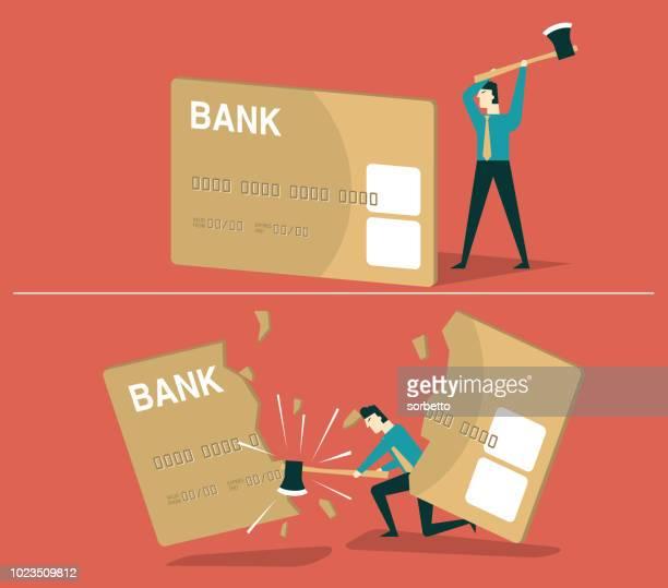 credit card debt - businessman - subprime loan crisis stock illustrations