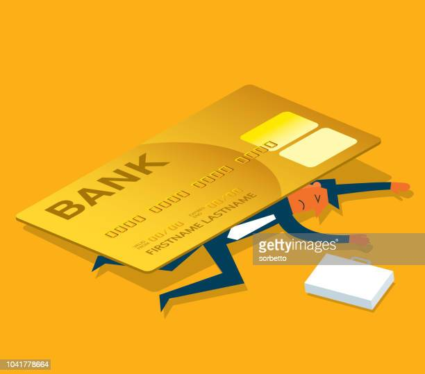 credit card debt - businessman - spending money stock illustrations, clip art, cartoons, & icons