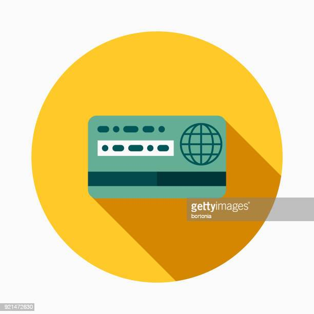 Credit Card Flat Design Casino Icon with Side Shadow