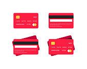 Credit card flat icons set