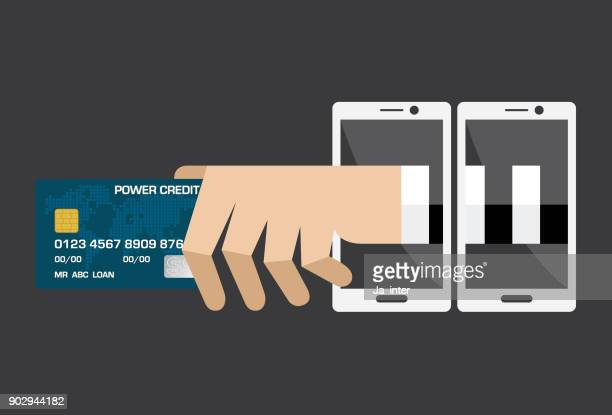 credit card hacker by phone - malfarbe stock illustrations