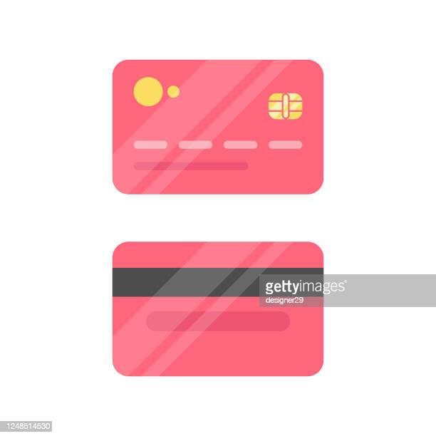 kreditkarte icon flaches design. - bankkonto stock-grafiken, -clipart, -cartoons und -symbole