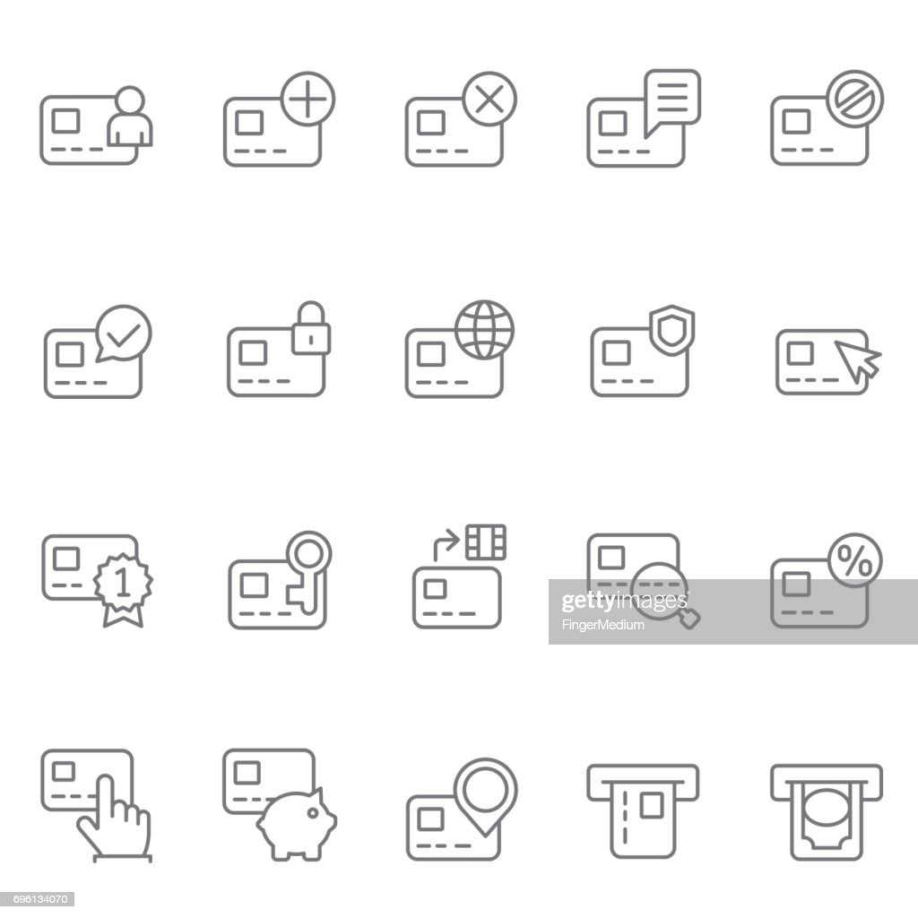 Credit card icon set : stock illustration