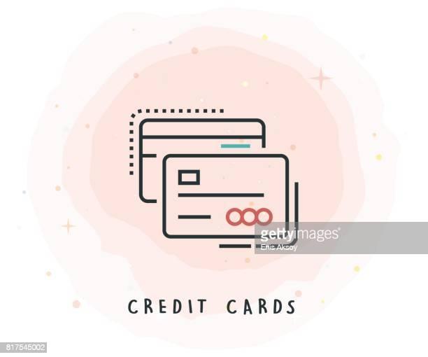 ilustrações, clipart, desenhos animados e ícones de ícone de cartão de crédito com patch aquarela - cartão de crédito