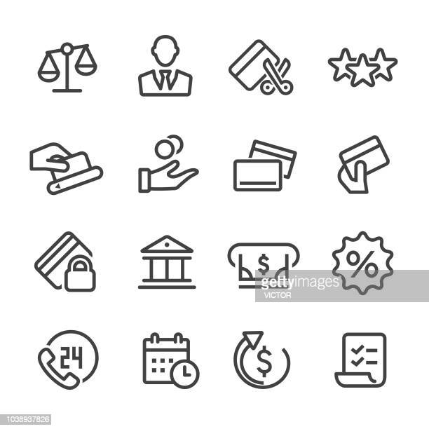 credit card icons - line series - at the edge of stock illustrations