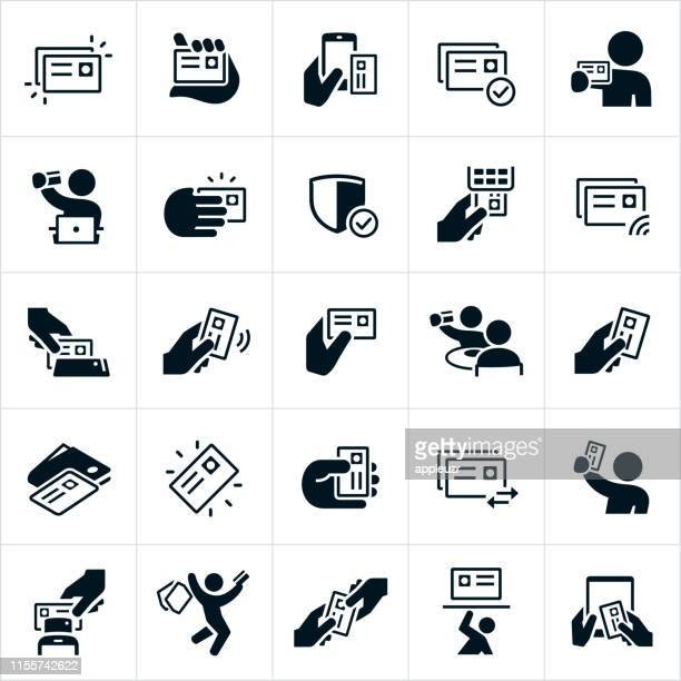 credit card icons - credit card reader stock illustrations