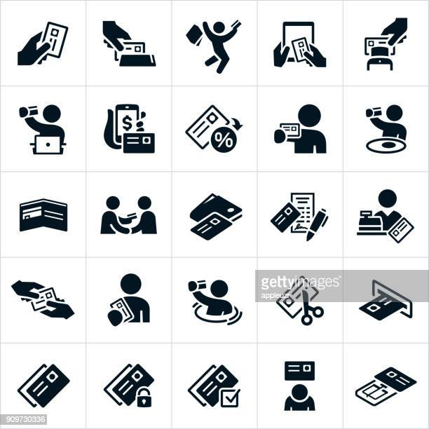 credit card icons - card reader stock illustrations, clip art, cartoons, & icons