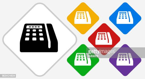 credit card machine color diamond vector icon - card reader stock illustrations, clip art, cartoons, & icons