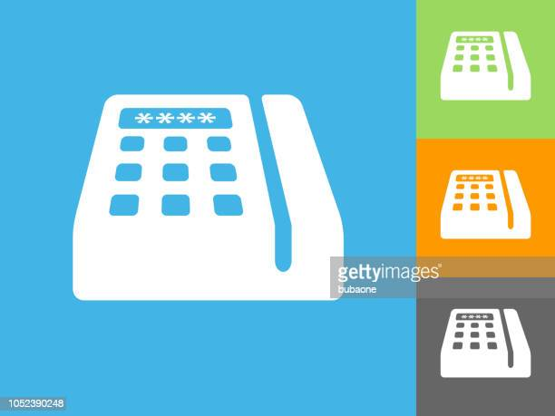 credit card machine flat icon on blue background - card reader stock illustrations, clip art, cartoons, & icons
