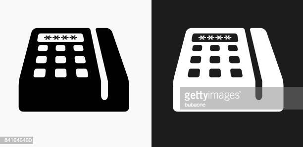 credit card machine icon on black and white vector backgrounds - card reader stock illustrations, clip art, cartoons, & icons