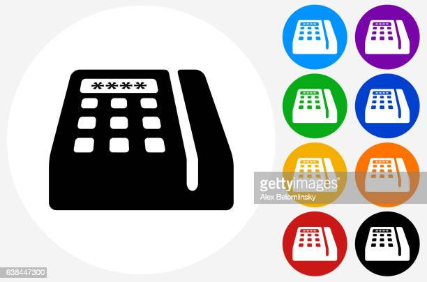 ilustraciones, imágenes clip art, dibujos animados e iconos de stock de credit card machine icon on flat color circle buttons - card reader