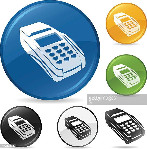 credit card machine - card reader stock illustrations, clip art, cartoons, & icons