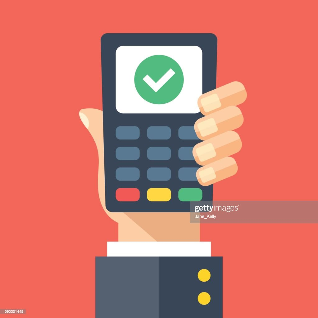 Credit card machine with check mark. Hand holding point of sale, pos, payment terminal with tick checkmark on screen. Transaction approved, successful purchase. Modern flat design vector illustration