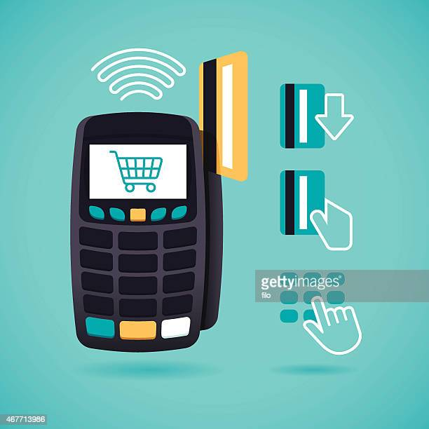 credit card reader and shopping - credit card reader stock illustrations