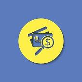 Credit Card Scanning flat icon. Money inspection vector illustration