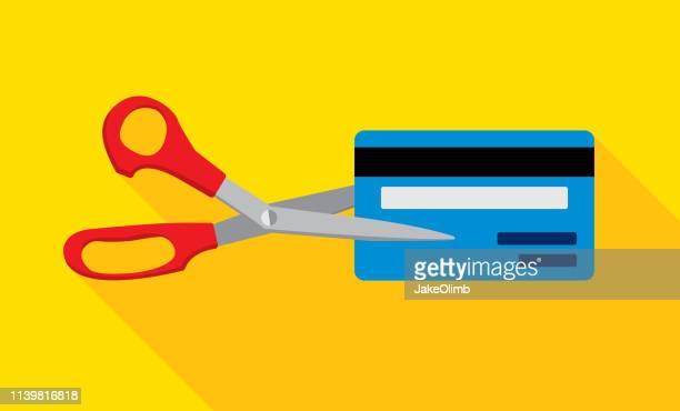 credit card scissors icon flat - debt stock illustrations