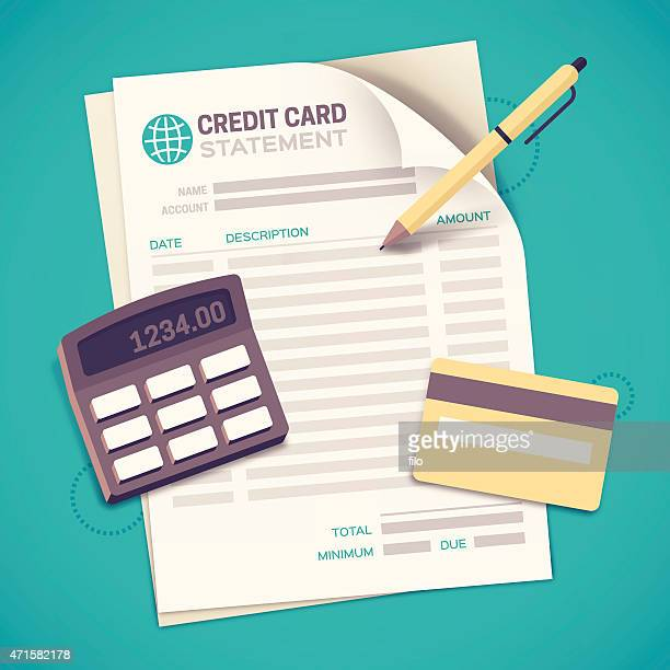 credit card statement bill paying - credit card stock illustrations
