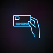 credit card user icon in neon style. One of Mobile banking collection icon can be used for UI, UX