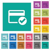 Credit card verified square flat multi colored icons