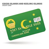 Credit card with Cocos and Keeling Islands flag background for