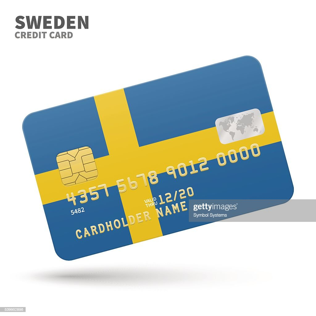 Credit card with Sweden flag background for bank, presentations and