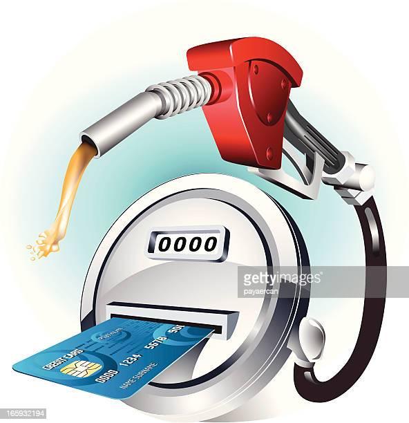 illustrations, cliparts, dessins animés et icônes de les cartes de crédit et de carburant - fuel pump