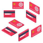 Credit cards isometric set.