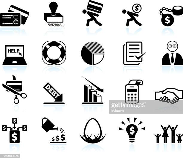 Credit counseling and debt relief black & white icon set