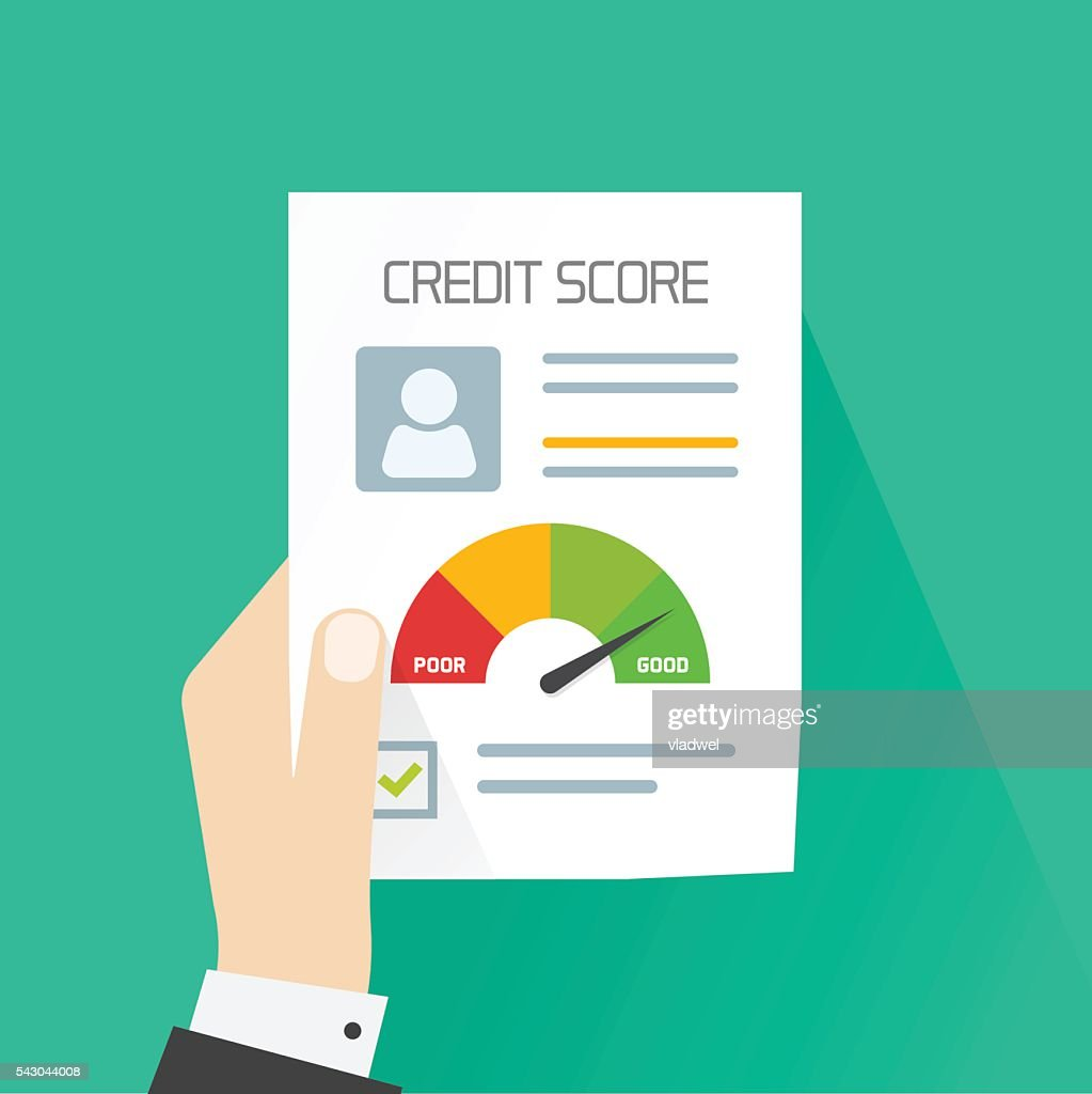 Credit score document vector concept, hand holding personal data report