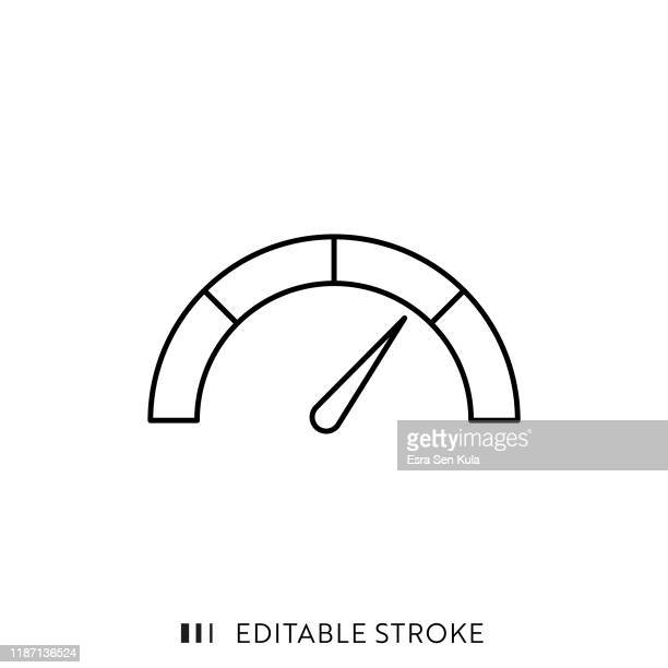 credit score icon with editable stroke and pixel perfect. - speedometer stock illustrations