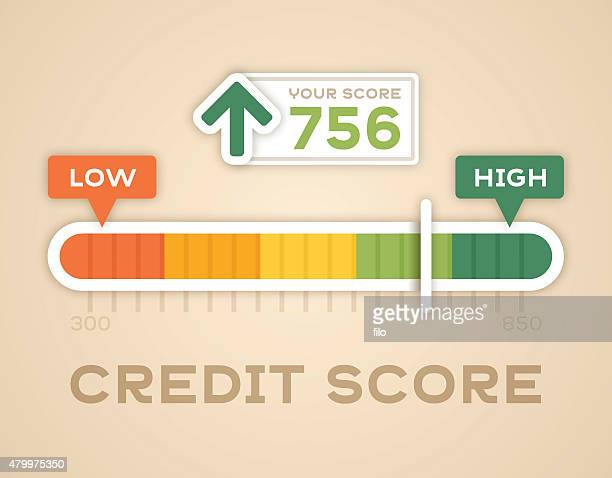 credit score meter - scoring stock illustrations