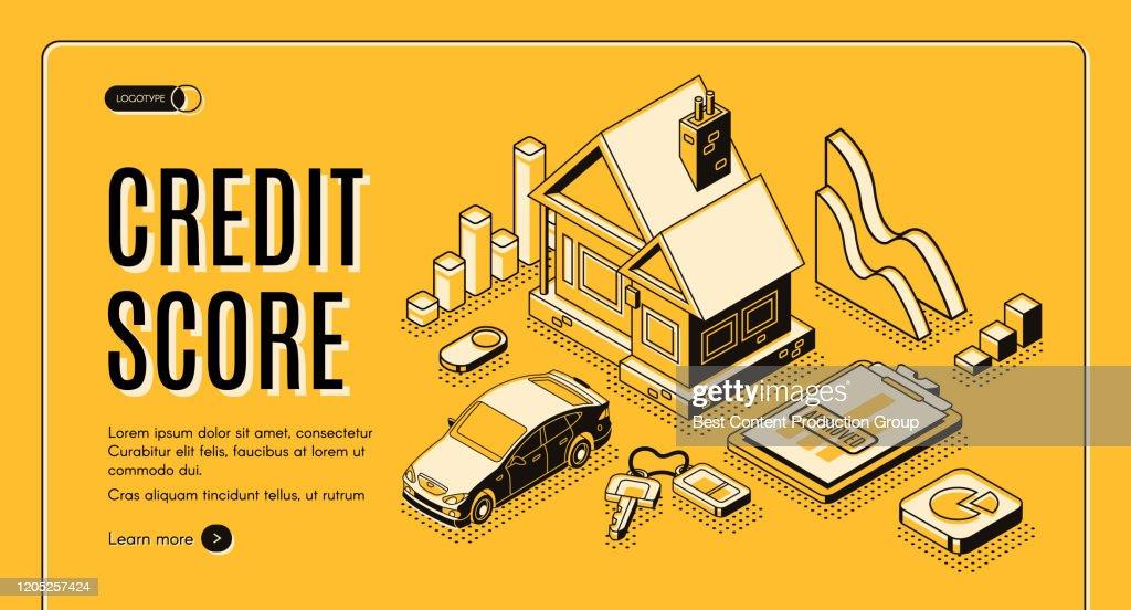 Credit score service isometric vector website : stock illustration
