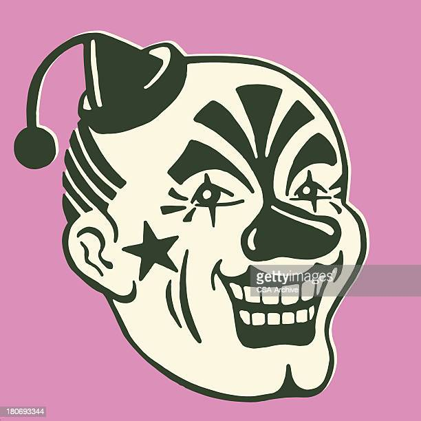 illustrations, cliparts, dessins animés et icônes de suspense clown visage - clown