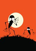 Creepy halloween creatures walking