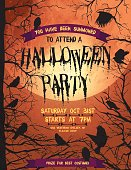 Creepy Halloween Party Template With Crows And Ravens