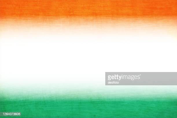crepe paper textured grunge vector tricolour faded background with three horizontal  bands in orange or saffron, white and green colours - indian flag stock illustrations
