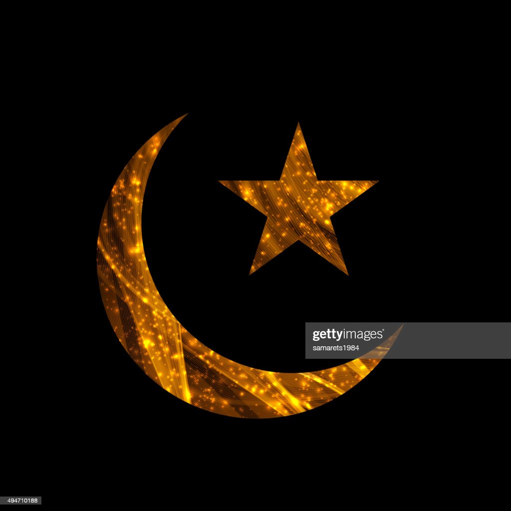 Crescent and Star for Ramadan card.