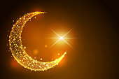 Crescent Islamic symbol. low poly wireframe on space background. illustration abstract design of polygonal image line and stars.