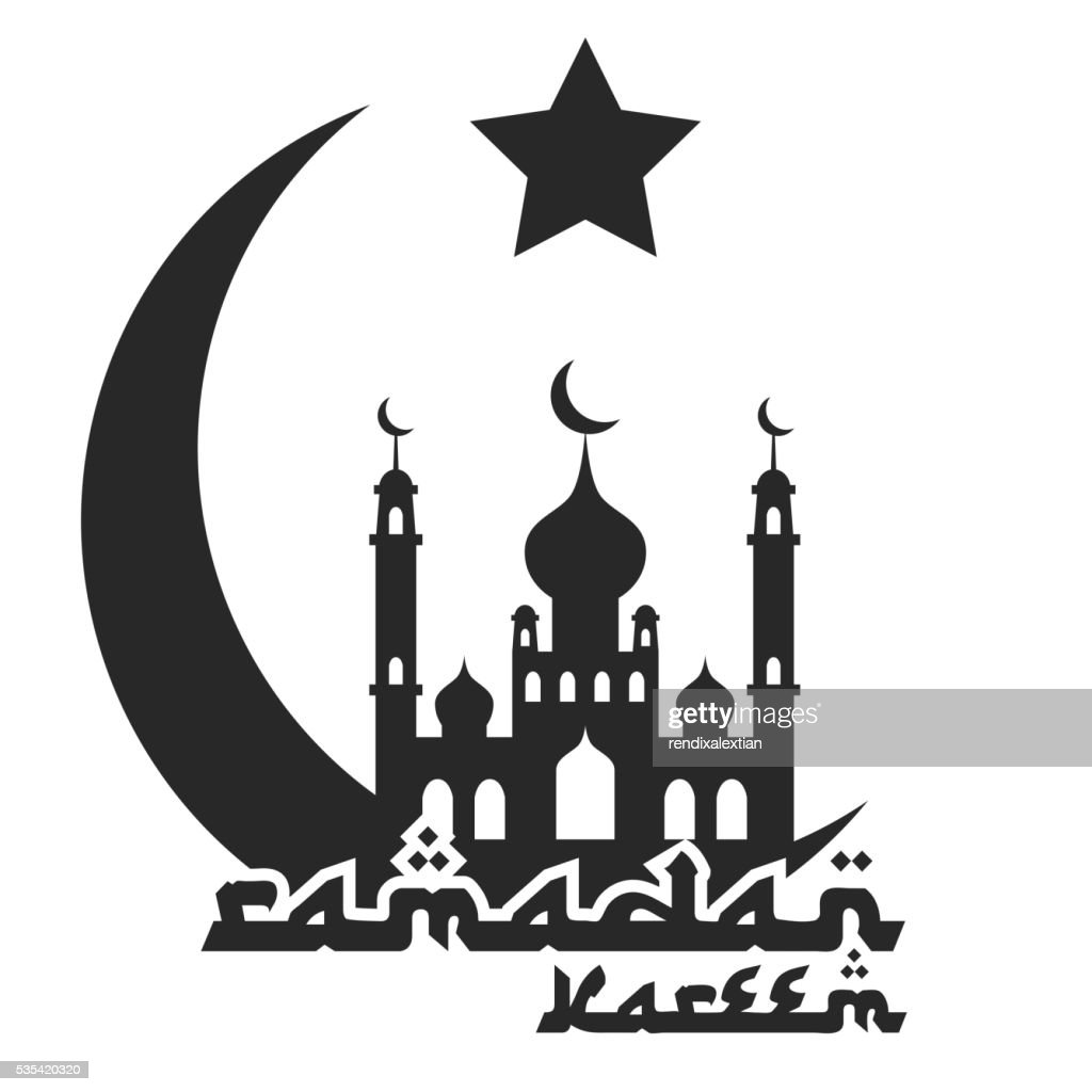 Crescent moon and mosque, islamic silhouette celebrations