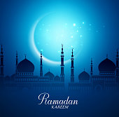 Crescent Moon and Silhouette Mosque for Ramadan Background