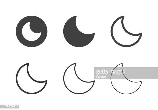 ilustrações, clipart, desenhos animados e ícones de ícones da lua crescente-série multi - semicírculo